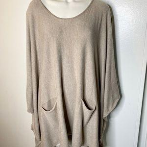 Altar'd State tan Cozy Poncho Sweater L XL